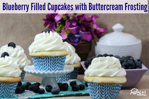 Blueberry Filled Cupcakes with Buttercream Frosting