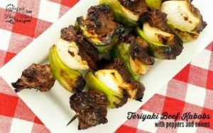 Grilled Teriyaki Beef Kabobs with Peppers & Onions
