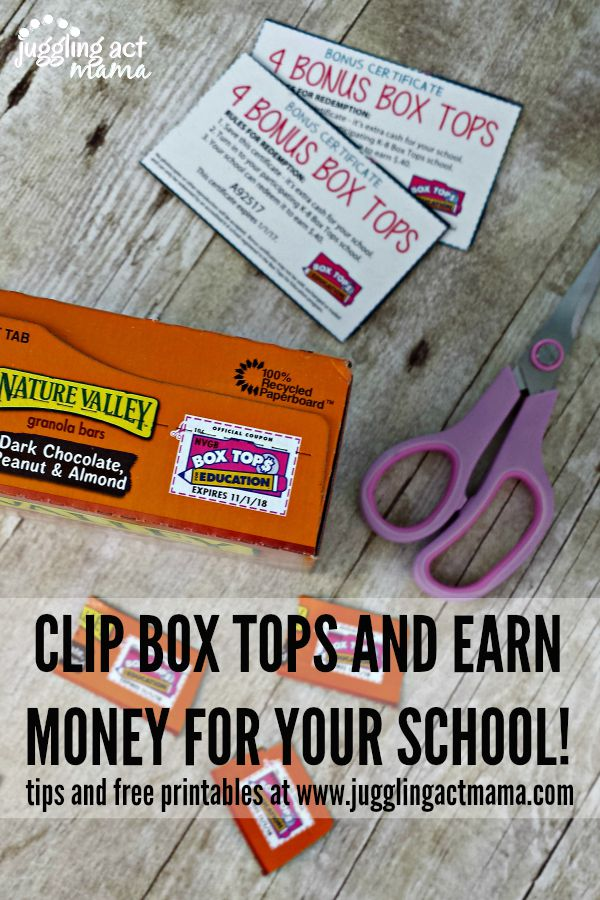 CLIP BOX TOPS AND EARN MONEY FOR YOUR SCHOOL! Free Printables and Tips for Collecting Box Tops at www.jugglingactmama.com