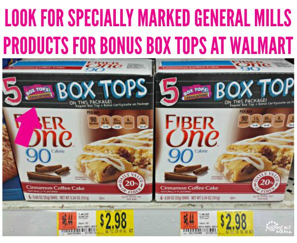 LOOK FOR SPECIALLY MARKED GENERAL MILLS PRODUCTS FOR BONUS BOX TOPS AT WALMART