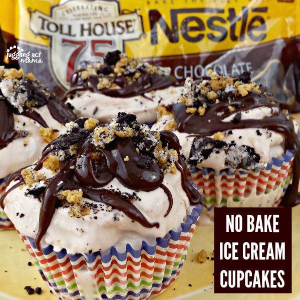NO BAKE ICE CREAM CUPCAKES WITH PEANUT BUTTER FUDGE SWIRL