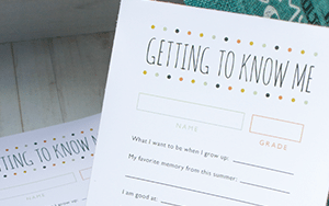 "Back to School Printable – ""Getting to Know Me"""