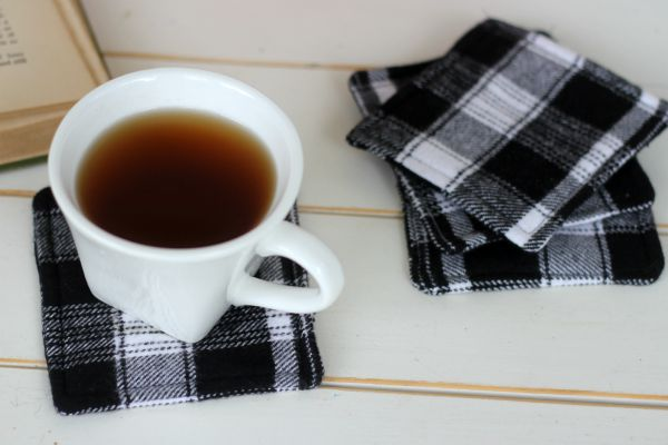 DIY Flannel Coasters | View From The Fridge for Juggling Act Mama