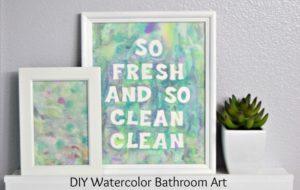 DIY Watercolor Bathroom Art