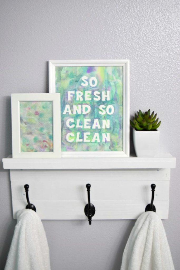 DIY Watercolor Bathroom Art from Dwelling in Happiness