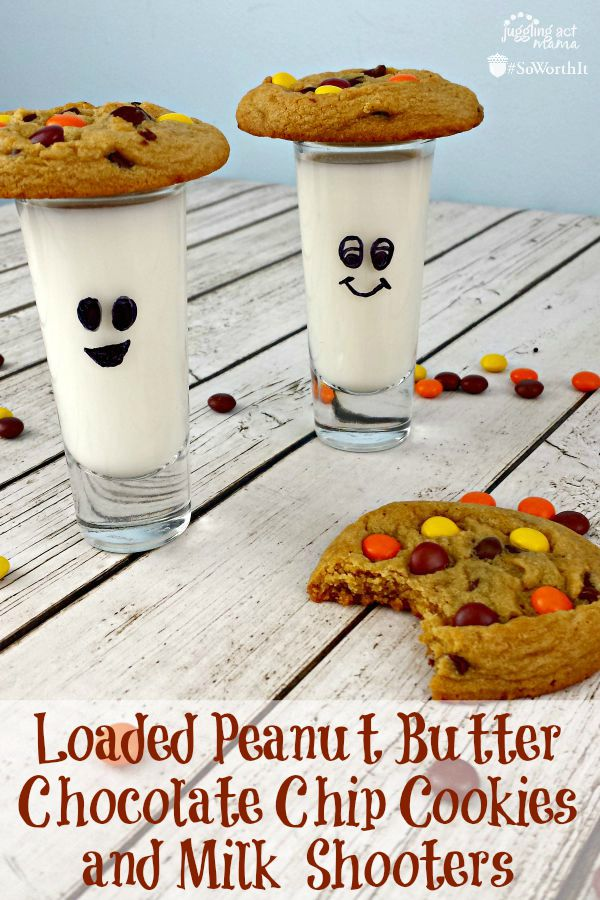 Loaded Peanut Butter Chocolate Chip Cookies and Milk Shooters