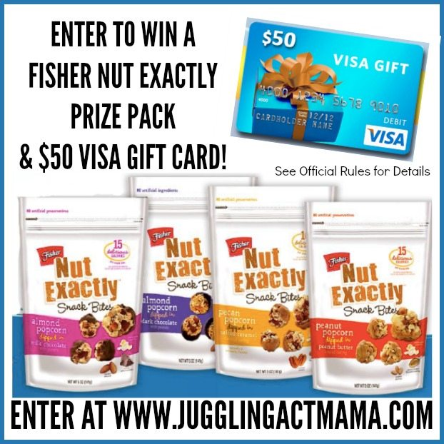 ENTER TO WIN A FISHER NUT EXACTLY PRIZE PACK & $50 VISA GIFT CARD!