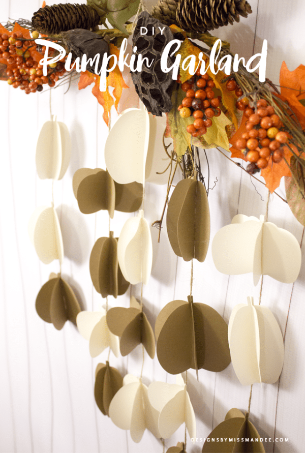 DIY Pumpkin Paper Garland Project; Free SVG File