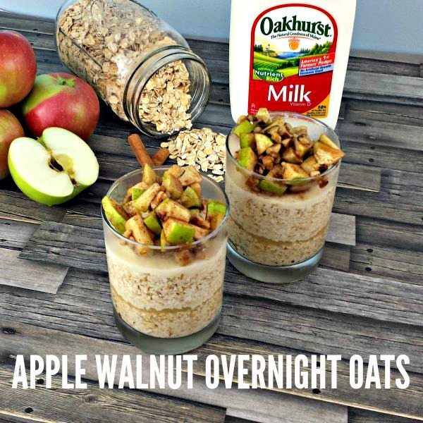 Apple Walnut Overnight Oats with cinnamon and brown sugar #SoWorthIt
