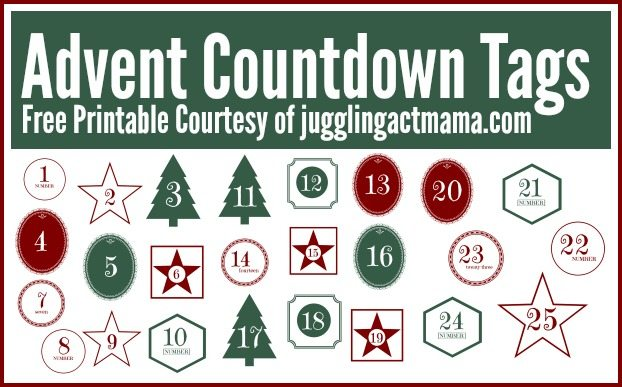 Free Advent Countdown Tags