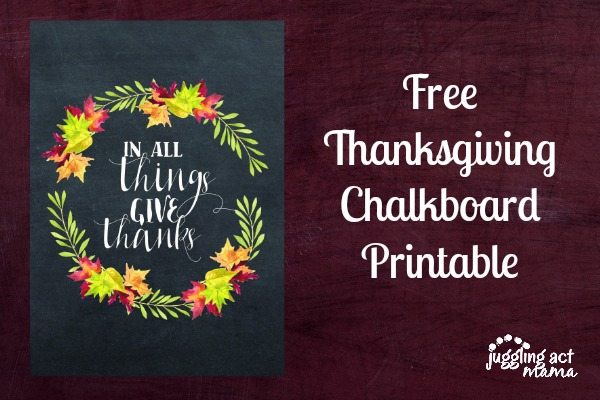 Free Thanksgiving Chalkboard Printable