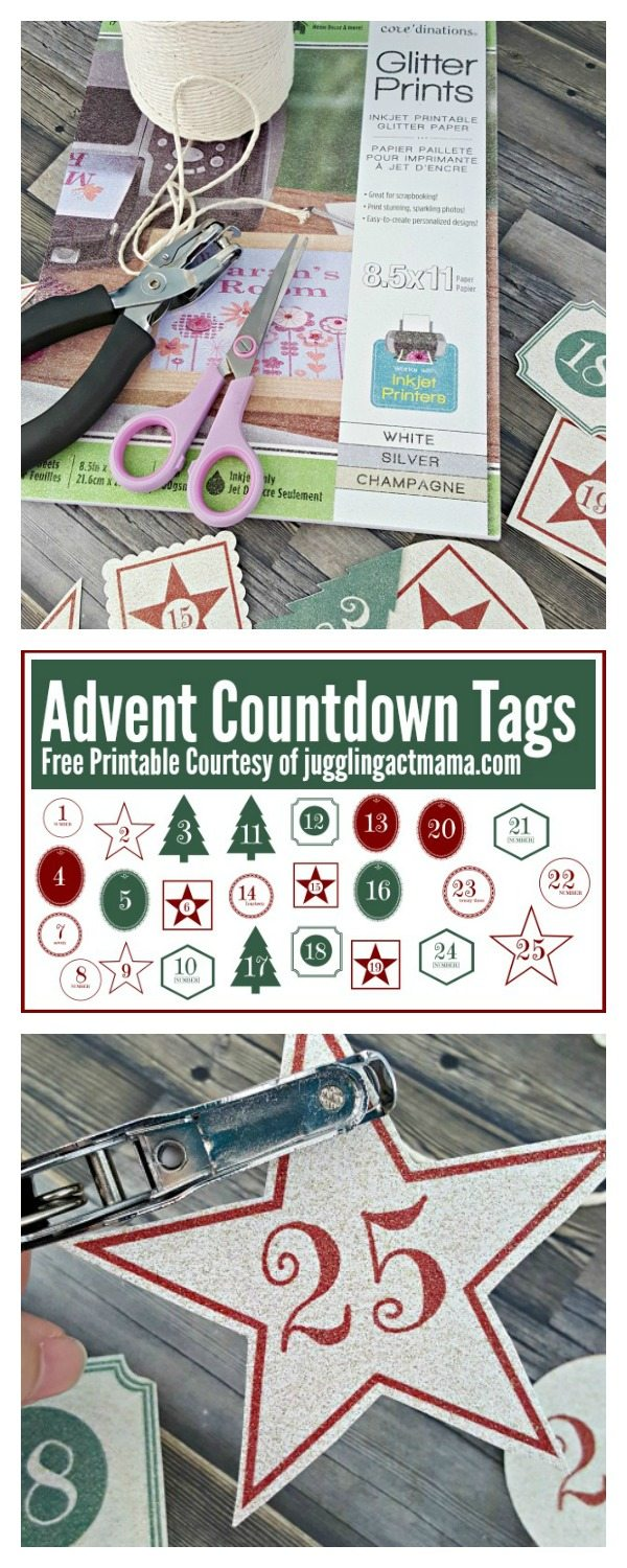 Glitter Advent Countdown Tags