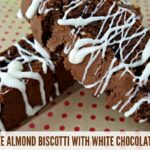 CHOCOLATE ALMOND BISCOTTI WITH WHITE CHOCOLATE DRIZZLE