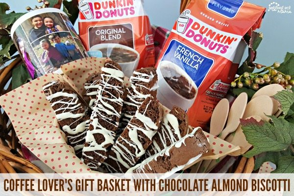 COFFEE LOVER'S GIFT BASKET WITH CHOCOLATE ALMOND BISCOTTI