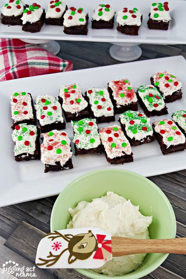 Frosted Chocolate Brownies for the holidays