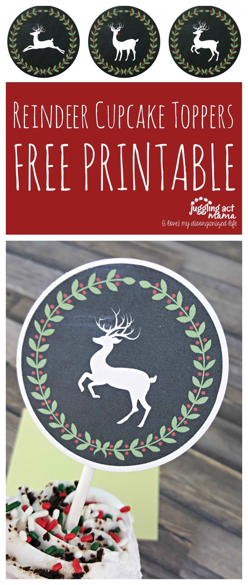 Reindeer Cupcake Toppers Free Printable