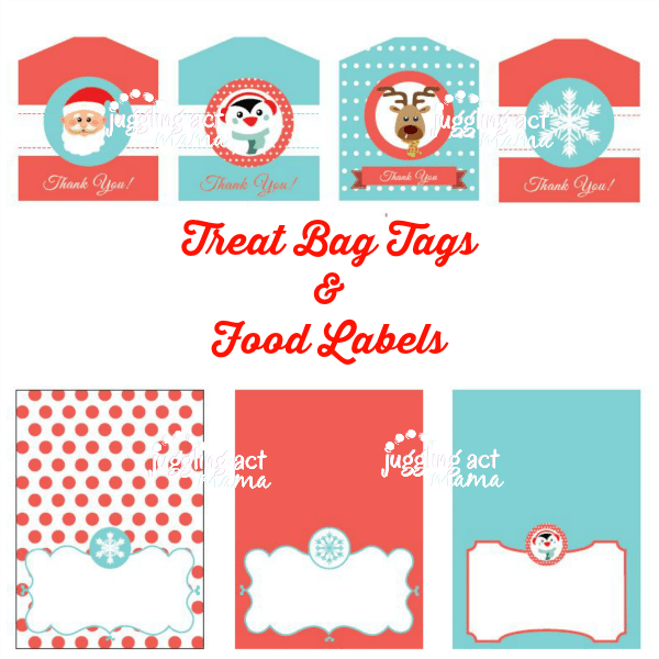 Christmas Party Printable Treat Bag Tags and Food Labels