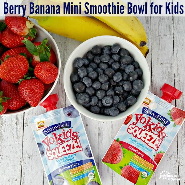 Berry Banana Mini Smoothie Bowl for Kids #Yogetter