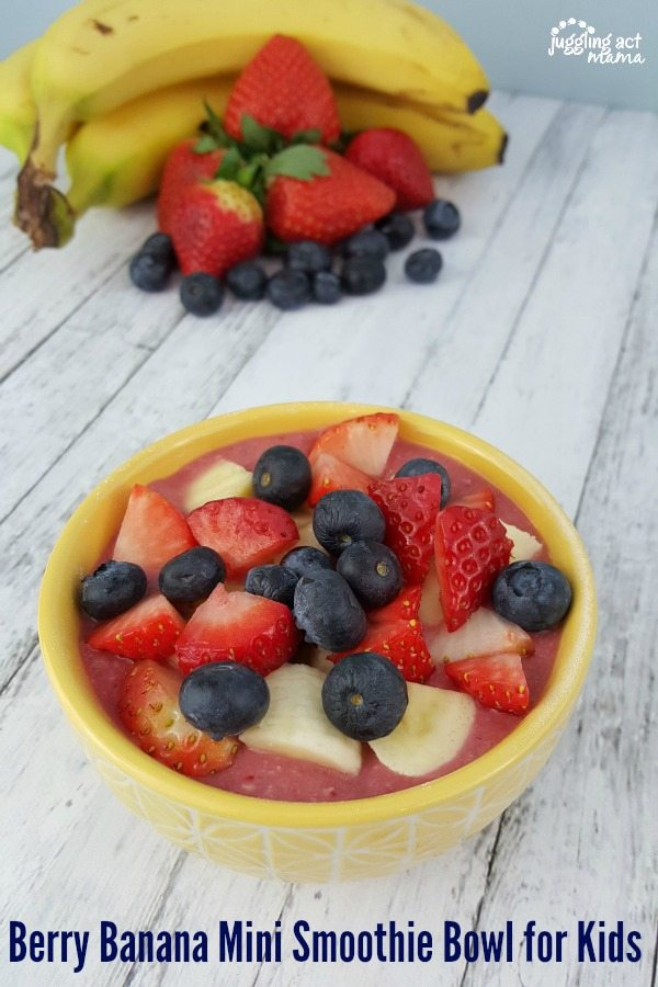 Berry Banana Mini Smoothie Bowl for Kids makes a healthy breakfast or snack