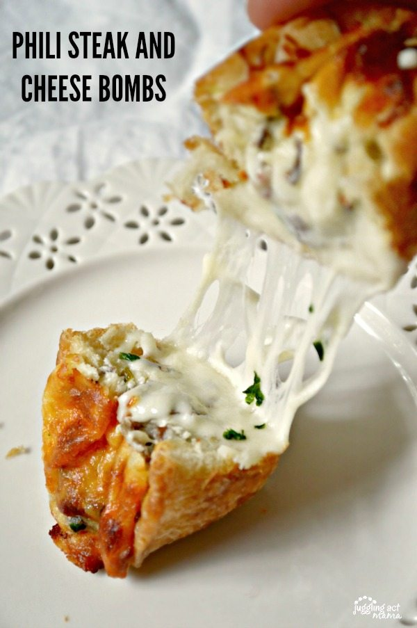 Creamy Phili Steak & Cheese Bomb Rolls - Juggling Act Mama