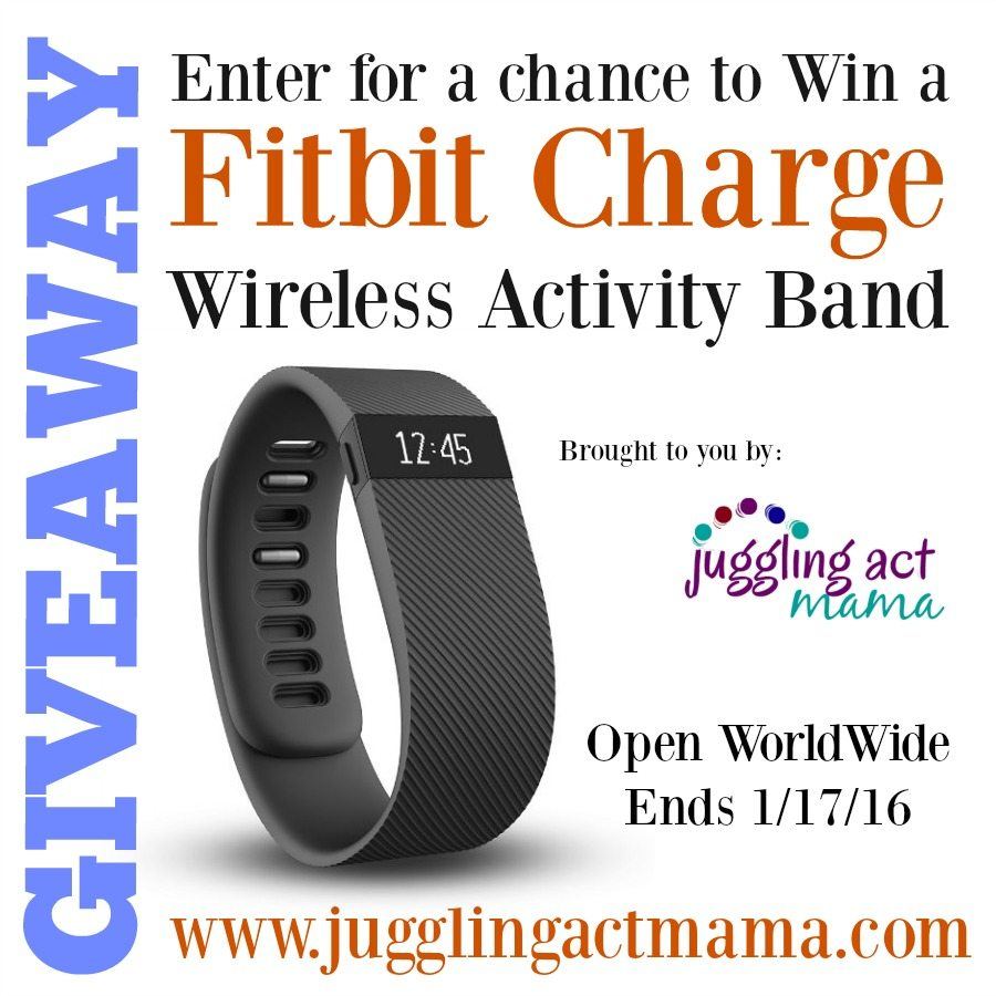 January Fitbit Charge Giveaway - Enter at @juggingactmama - Ends 1-17-16