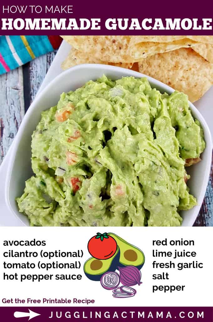 You can make restaurant-quality guacamole at home with this easy Homemade Guacamole recipe using fresh ingredients. via @jugglingactmama
