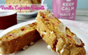 Vanilla Cupcake Biscotti with Coffee Glaze