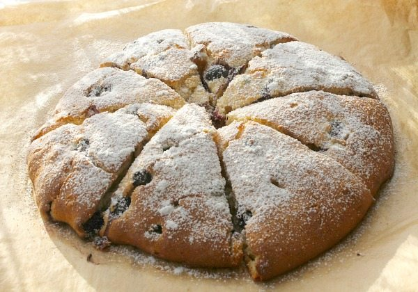 Blueberry scones on a white plate with powdered sugar on top.