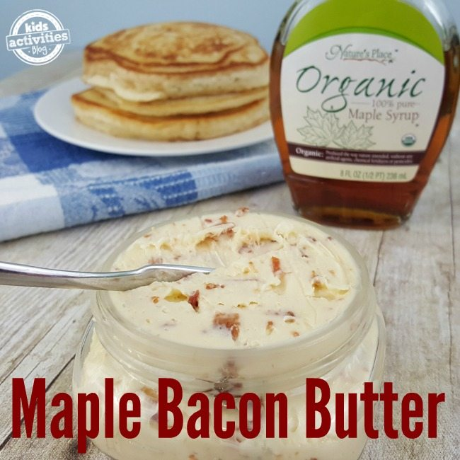 Maple Bacon Butter on pancakes is so amazingly delicious!