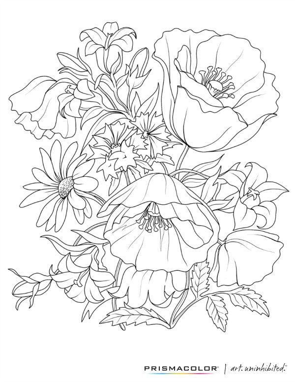 Prismacolor Flowers coloring page