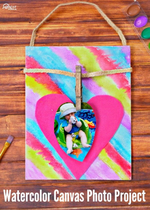 This sweet Watercolor Canvas Photo Project is perfect for Valentine's Day