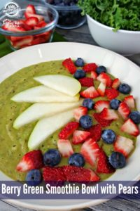 Try this Berry Green Smoothie Bowl, topped with pears, strawberries and blueberries. You'll be surprised how good it is, and it's really good for you, too!