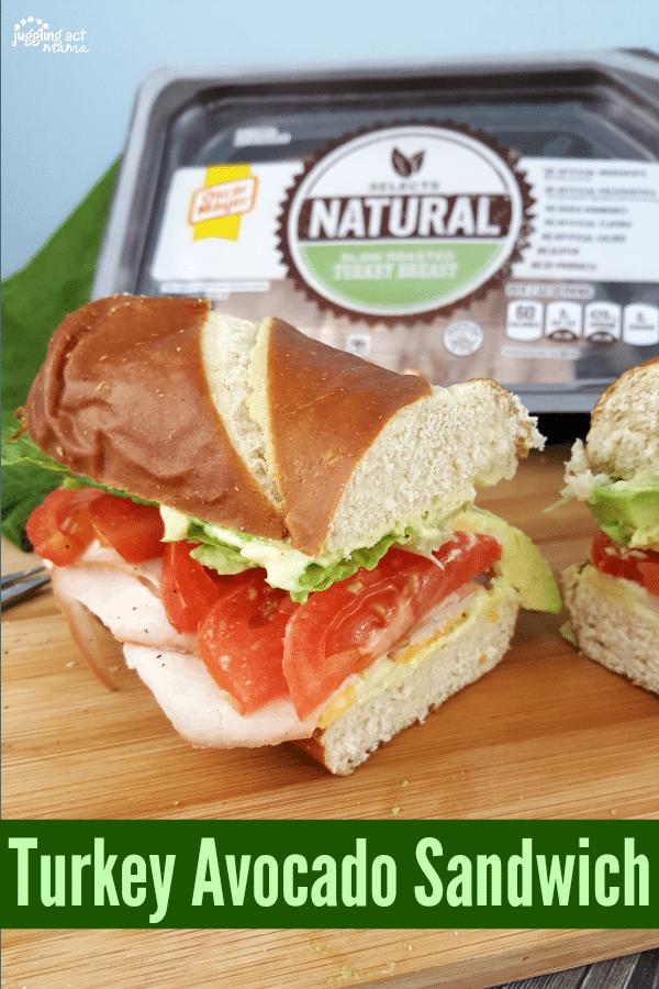 Turkey Avocado Sandwich piled high with Oscar Meyer Natural Selects, fresh veggies and homemade Avocado Ranch Dressing