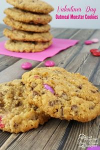 Valentine's Day Oatmeal Monster Cookies are so fun to make with the kids