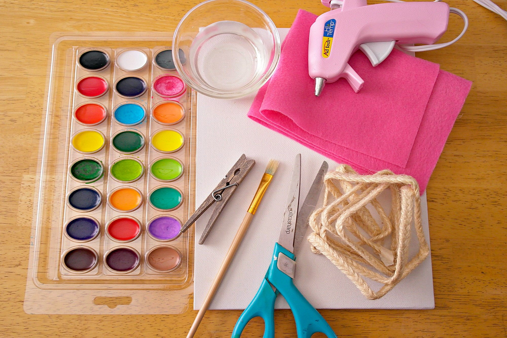 Materials needed for Watercolor Canvas Photo Project