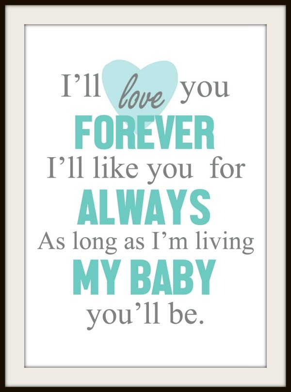 Love You Forever Free Nursery Printable