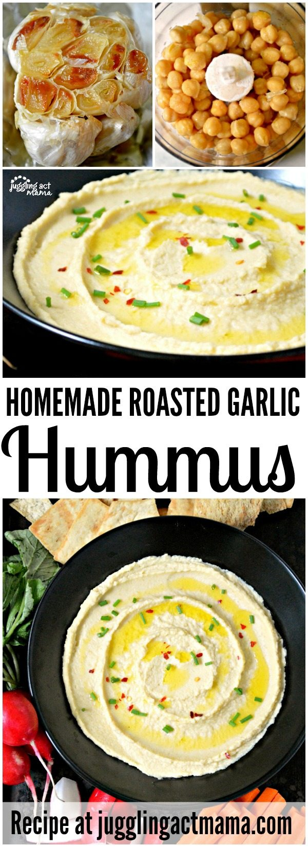 Roasted Garlic Hummus is a delicious and healthy appetizer and snack for parties, or even for school lunches! This recipe couldn't be more simple – you're going to love it!