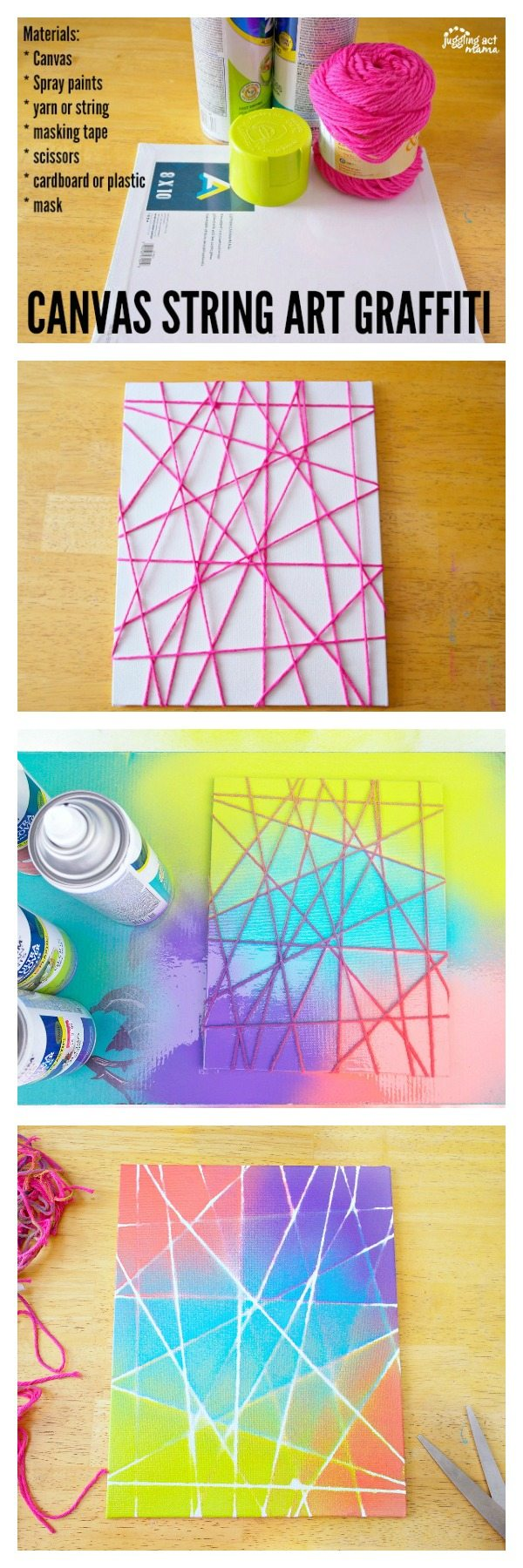 Canvas Spray Paint Ideas Part - 21: This Canvas String Art Graffiti Project Is Fun For Kids And Adults Alike.
