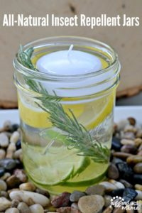 All-Natural Insect Repellent Jars are perfect centerpieces for keeping the bugs away during your summer gatherings