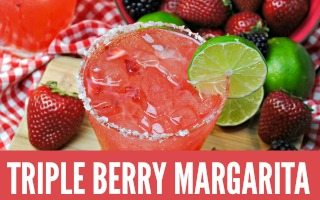 Strawberry Margarita with Blackberries and Raspberries