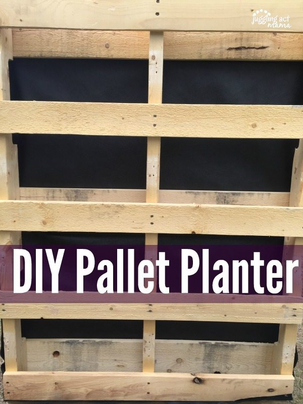 DIY Pallet Planter text with an unfinished pallet standing up.