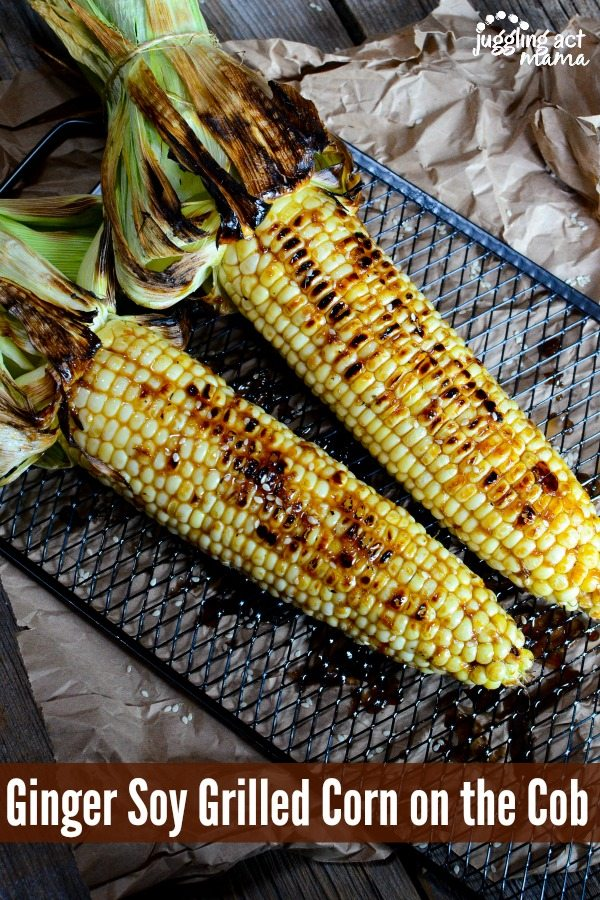 Ginger Soy Grilled Corn via Juggling Act Mama