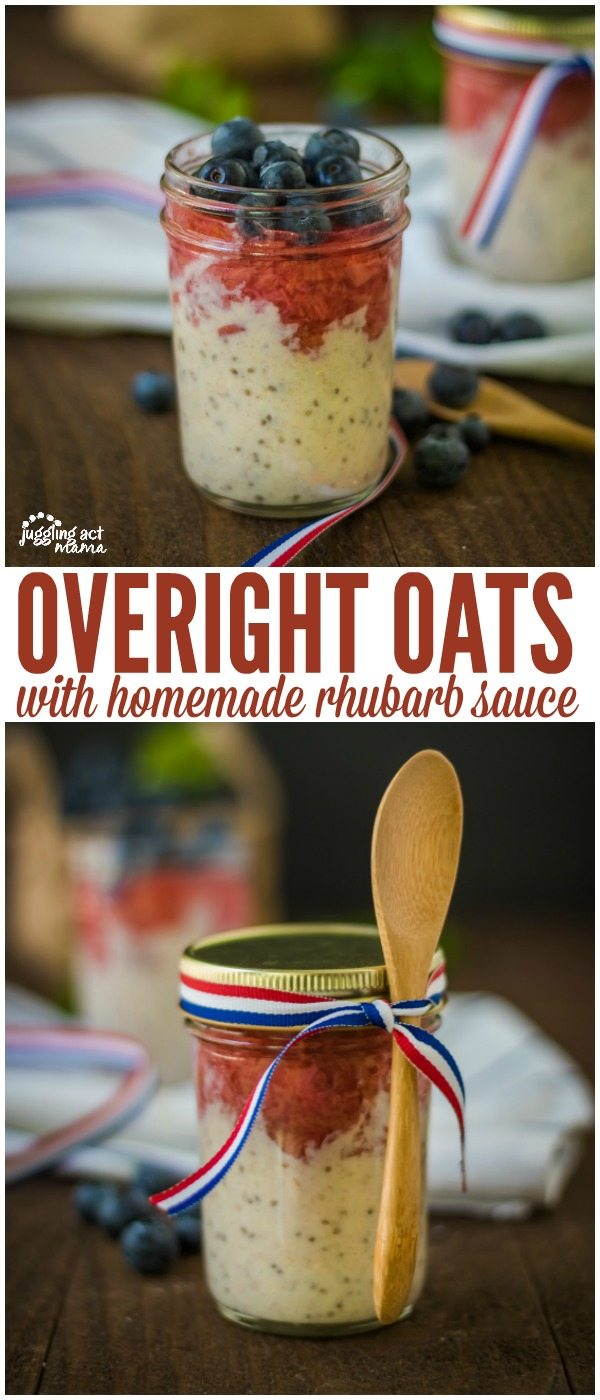 Overnight Oats with Homemade Rhubarb Sauce - prep the night before and top with fresh fruit!