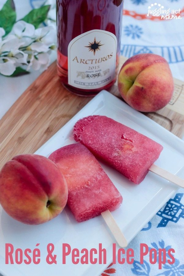 Rosé & Peach Ice Pops via Juggling Act Mama