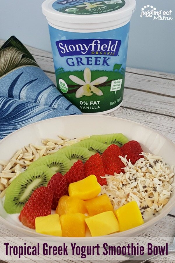 Tropical Greek Yogurt Smoothie Bowl #ad #SummerCravings #StonyfieldBlogger #prAna