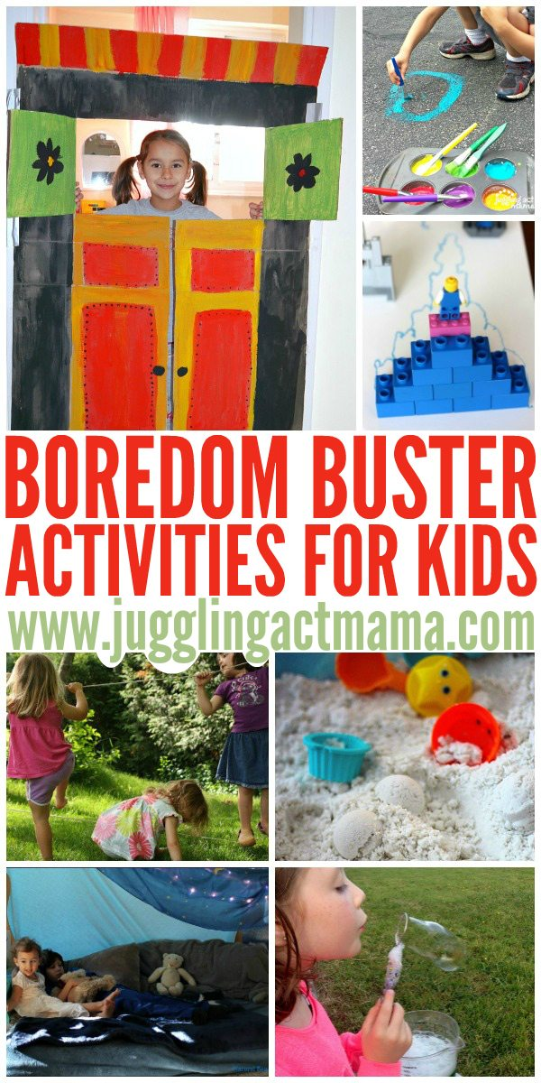 "Boredom buster activities: fun stuff for whenever you hear the kids say, ""Mom, I'm bored!"""