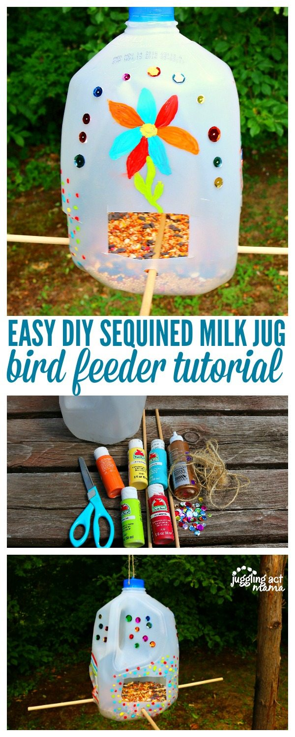 Easy DIY Sequined Milk Jug Bird Feeder Tutorial via @JugglingActMama