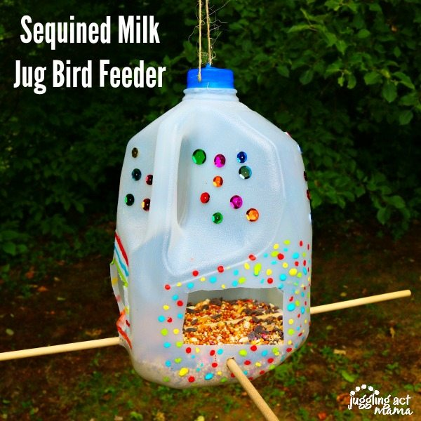 Sequined Milk Jug Bird Feeder craft