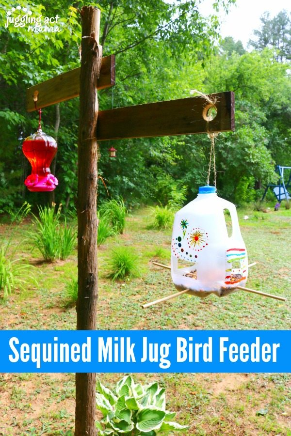 Sequined Milk Jug Bird Feeder