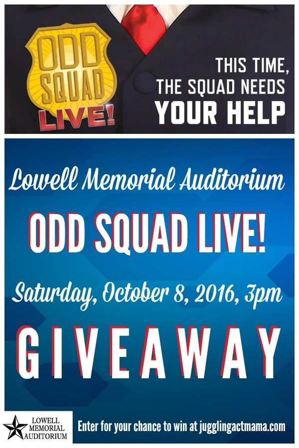 ENTER FOR A CHANCE TO WIN A FAMILY 4-PACK OF TICKETS FOR ODD SQUAD LIVE! OCT 8 2016 LOWELL MEMORIAL AUDITORIUM #AD